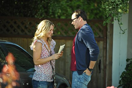 "Kaley Cuoco as Hannah Rinaldi and Chris Klein as Henry Obert in ""Authors Anonymous.''"