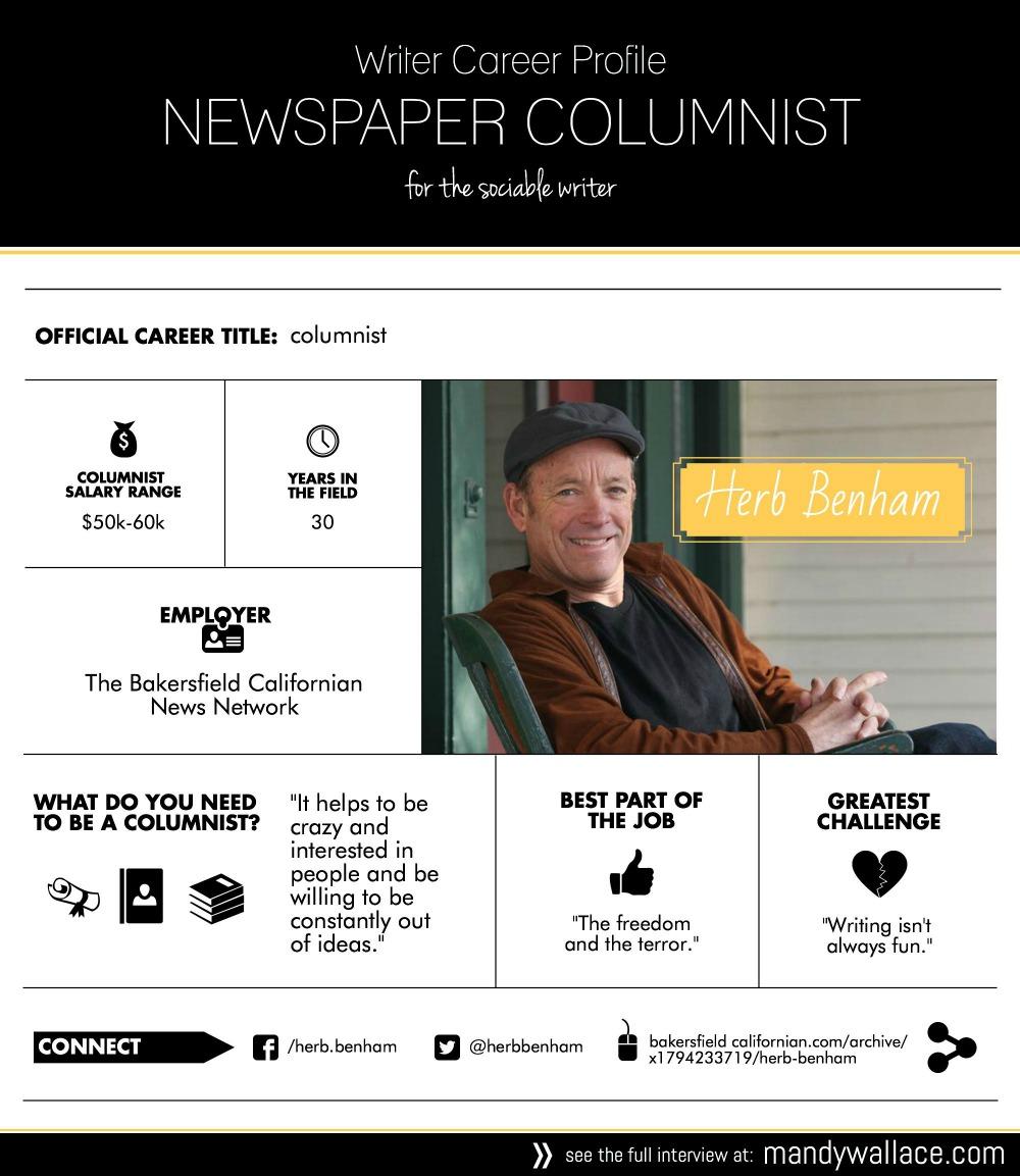 writer career profile newspaper columnist