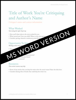 Writing Critique Template | MS Word format